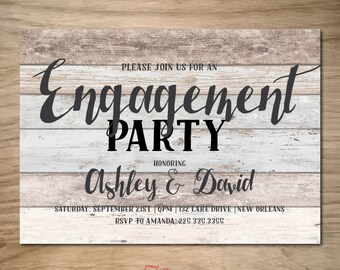 Rustic Engagement Party Invitation, Printable, Shabby Chic, Boho Neutral Wood Grain