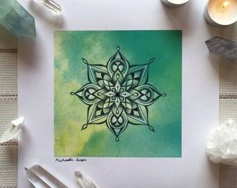 Four-Point Mandala | High Quality, Crystal Embellished Mandala Art Print