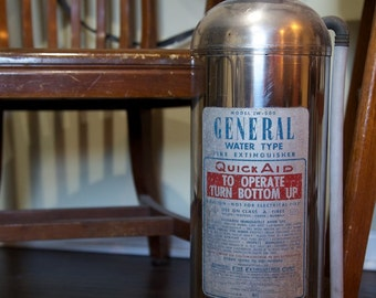 Vintage Fire Extinguisher, Stainless Steel Extinguisher, General Fire Extinguisher