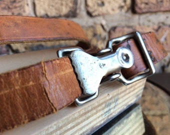 Unique Leather Belt & Clamp Buckle with Anchor Symbol