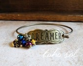 Dreamer Antique Brass Boho Bangle, Expandable Bracelet - Stamped Metal Dreamer Focal with Star Charm, Moon Charm, and Aurora Borealis Beads