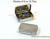 "Rectangle Hinged Tins-Wedding Favor Tins-Mint Tins-Bead Storage Tins-Food Storage Tins-Food Grade-Choice of 6 or 12 Tins-3.9""x2.45"""