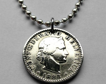 antique! 1884 Switzerland 20 Rappen coin pendant Swiss necklace LIBERTAS Lady Liberty female Helvetica Geneva Zurich Confederation n001576