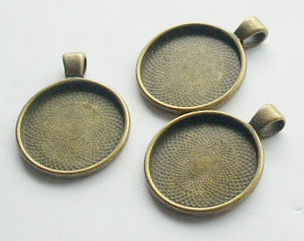 3 x Antique Bronze Round Bezel Cabachon Setting Pendants 35mm