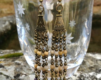 Boho Brass Mookaite Earrings