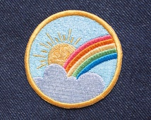 Rainbow Sunshine patch - Iron on Patches - Embroidered Patch - Cute Patches - Patches for Jackets - Sew on patch - Patch Game - Appliques