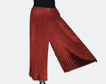 80's handmade pleated shiny pant skirt