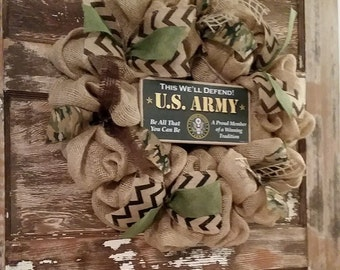 US Army Burlap wreath. Marine Burlap wreath, Air Force Burlap wreath, Navy Burlap Wreath