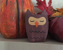 Wooden Owl, small wood owl, hand carved owl, owl decor, sleeping owl, fall decor, fall decorations, gift idea, owl decorations