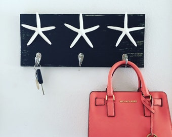 Starfish hooks, wall hooks, keychain holder, jewelry holder, towel rack, starfish decor, nautical decor, beach decor, necklace holder