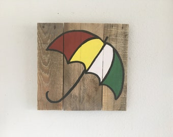 Umbrella sign, beach umbrella, beach umbrella sign, beach decor, pallet wood beach sign, pallet signs, coastal decor, beach house decor
