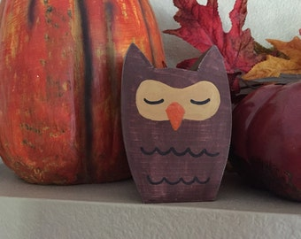 Wooden Owl, small wood owl, hand carved owl, owl decor, sleeping owl, fall decor, fall decorations, gift idea, owl decorations