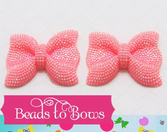 1 - 54mm Large Pink Rhinestone Bow bead, Rhinestone Bow, Chunky Bow, Bubblegum rhinestone bead, Chunky Necklace Bow,  Bead Bow