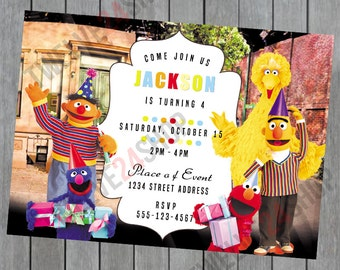 Sesame Street Birthday Invitation - Elmo - Big Bird - Ernie -  Bert - Sesame Street Party