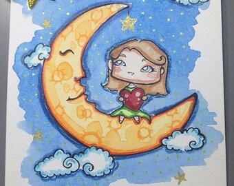 Wish upon a star A6 original illustration