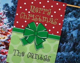 Personalized Christmas House Flag, Merry Christmas  Flag,