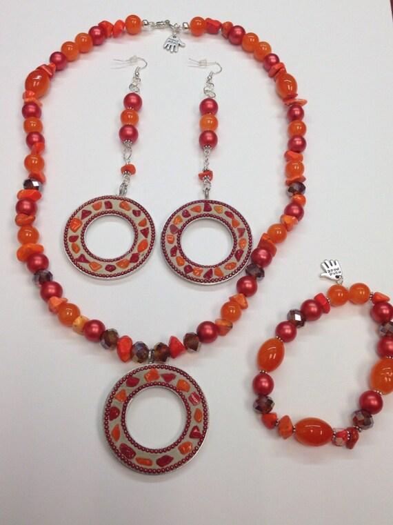 on sale orange gemstone embellished necklace by krddesigns3