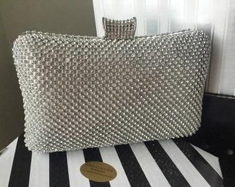 Silver glitzy diamante & beaded bag