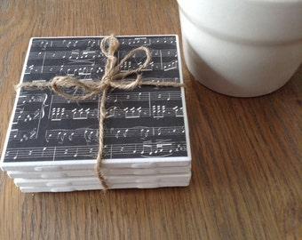 Black and white sheet music vintage tile coaster set 4 - wedding, birthday, housewarming, anniversary gift. Heat water safe
