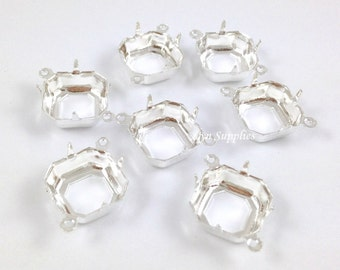 Square Setting 12x12mm 2 Loops Sterling Silver Plated OPEN BACK Prong 10pcs Octagon Cushion Cut Fits Swarovski 4470