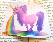 Magical Fantasy Rainbow Barfing Unicorn Sticker or Magnet