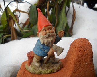 Vintage 1979 Porcelain Enesco Gnome Elf with His Hatchet Woodcutter
