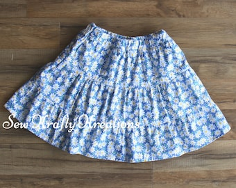Blue with Daises Skirt