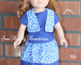 """Blue Shirt with Matching Floral Skirt and Vest Doll Set for 18"""" doll like American Girl"""