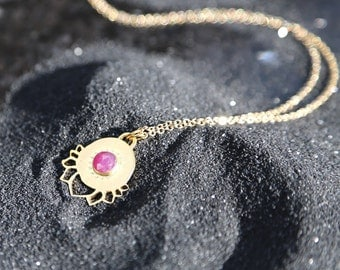 Lotus Necklace, Flower Necklace, Ruby Necklace, Long Gold Necklce, Yoga Jewelry