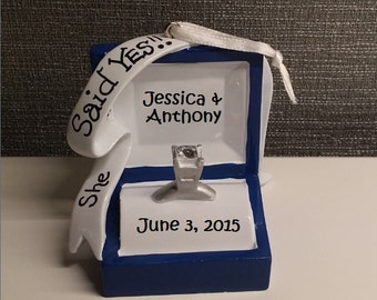Custom Engagement Ornament, Custom Couple Ornament, She Said Yes, Custom Wedding Ornament