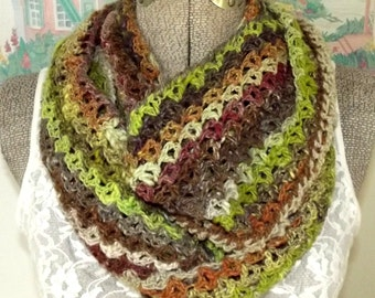 Crochet Infinity Scarf Lacy Noro Yarn Brown Lime Green Tan Wrap it Once or Twice Around