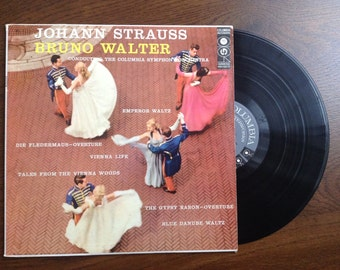 """12"""" Johann Strauss Waltzes, traditional music. Bruno Walter conducting the Columbia Symphony Orchestra. Blue Danube Waltz, vintage LP record"""