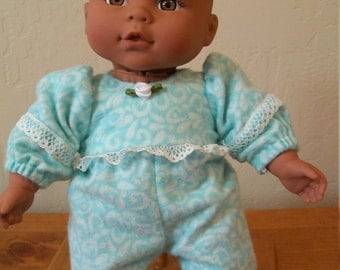 Aqua and White Flannel Sleeper for 8 to 10 Inch Dolls and Bears