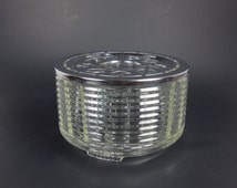 Silex Candlelight Coffee Tea Warmer Stand Clear Ribbed Glass with Silver Metal Cover