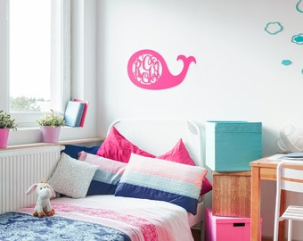 Monogrammed Wooden Whale*Baby's Room*Bedroom*Decoration*Classroom*Home Decor*