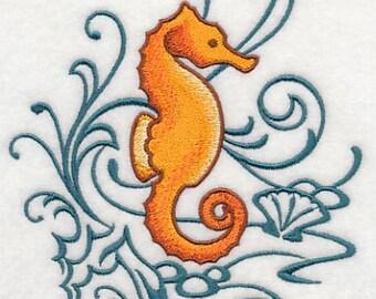 PAIR hand towels - seahorse & echos 15 x 25 inch for kitchen / bath MORE COLORS