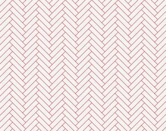 White and Coral Classic Herringbone Organic Fabric - By The Yard - Girl / Boy / Neutral