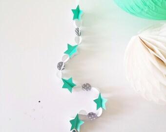 Guirlande décorative papier, étoiles pailletées - 50 cm - Gris, Turquoise, Blanc, Paillettes - perles - cadeau naissance, bébé, enfant