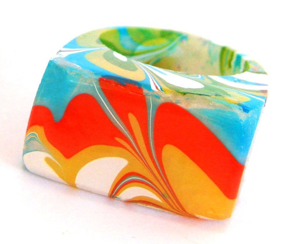 Funky Marbled Resin Rings, Unique & Modern, Blast from the Past, 70's up-dated fashions,Trending Contemporary Rings, ResinHeavenUSA