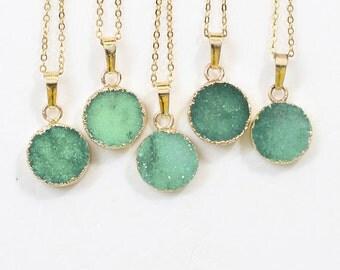 CHRISTMAS SALE Round Green Druzy Necklace Handmade Drusy Geode Necklace wedding party birthday jewelry DJ-58
