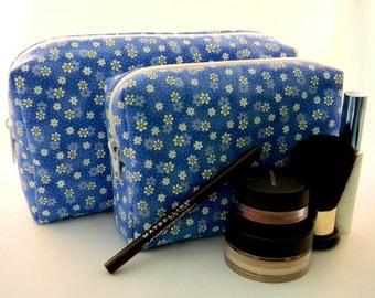 Daisy Makeup Bag- Blue- Large- Handmade