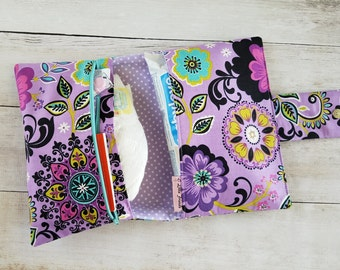 Floral Diaper Bag Girl | Purple Diaper Clutch Bag | Diaper Pouch | Baby Changing Bag | Diaper Bag Organizer Insert | Small Diaper Bag