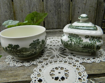 Rare Vintage Villeroy & Boch Rusticana Green Covered Sugar and Sugar Bowl - Germany