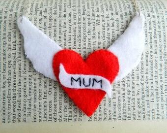 Handmade tattoo inspired Felt applique mum mothers day necklace