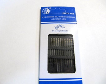 Needles, Self Threading, Easy Threading Needles, Assortment Size Pack, 12 Package, Value Needles