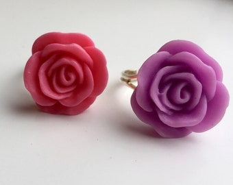 One of a Kind Pink and Purple Vintage Rose Resin Flower Adjustable Ring