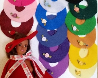 Small round flat hats for fashion dolls