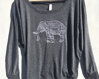 Triblend Embroidered Elephant Long Sleeve Yoga Clothes