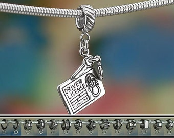 Sterling Silver Driver's License Charm or European Charm Bracelet .925