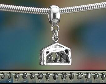 Sterling Silver Nativity Charm or European Style Charm Bracelet Manger